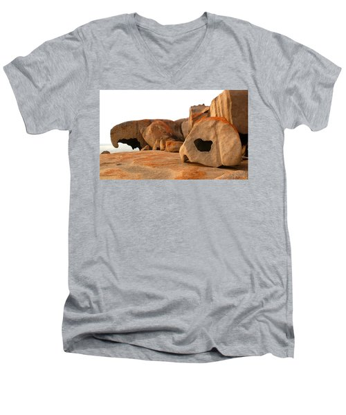 Men's V-Neck T-Shirt featuring the photograph Remarkable Rocks by Evelyn Tambour