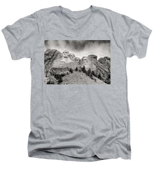 Remarkable Rushmore Men's V-Neck T-Shirt by Erika Weber