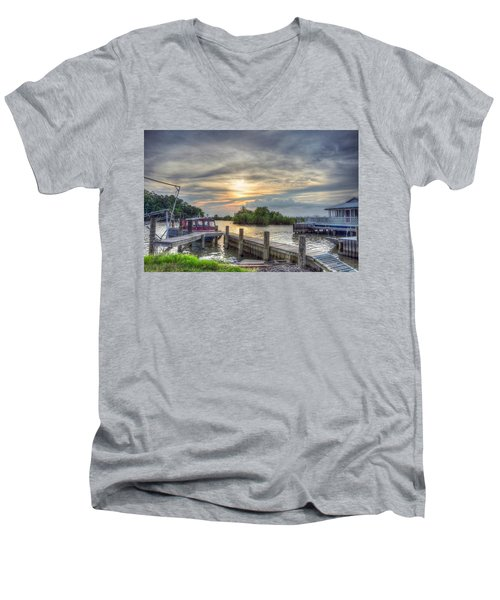 Men's V-Neck T-Shirt featuring the photograph Remnants by Charlotte Schafer