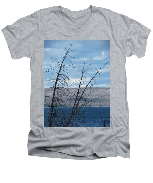 Men's V-Neck T-Shirt featuring the photograph Remnants Of The Fire by Laurel Powell