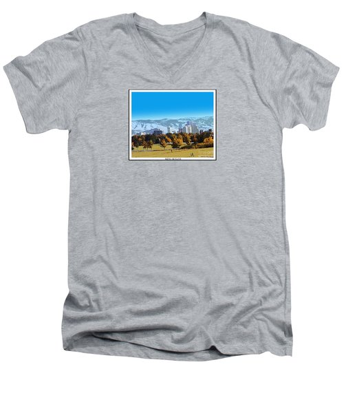 Reno Skyline From Rancho San Rafael Men's V-Neck T-Shirt by Bobbee Rickard
