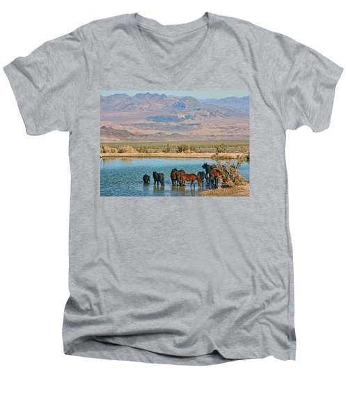 Men's V-Neck T-Shirt featuring the photograph Rest Stop by Tammy Espino