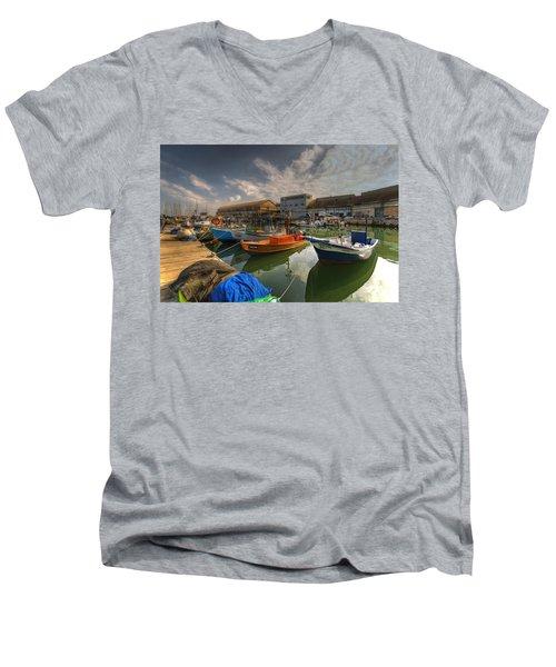 resting boats at the Jaffa port Men's V-Neck T-Shirt