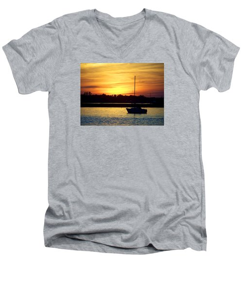 Men's V-Neck T-Shirt featuring the photograph Resting In A Mango Sunset by Sandi OReilly