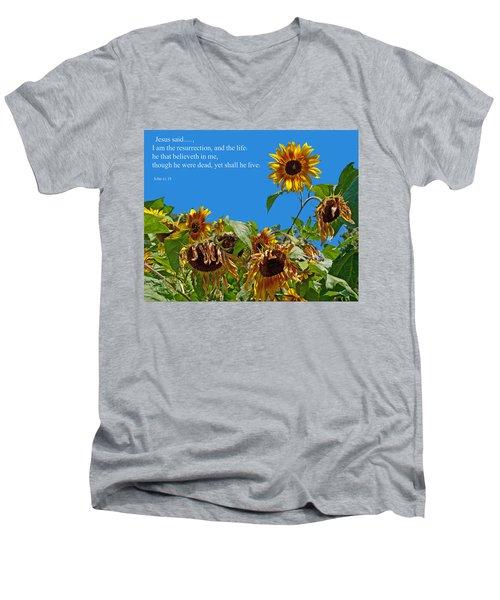 Resurrected Life Men's V-Neck T-Shirt by Tikvah's Hope