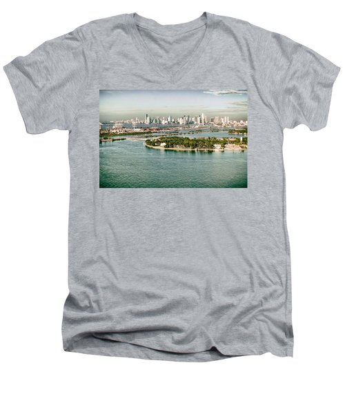 Retro Style Miami Skyline And Biscayne Bay Men's V-Neck T-Shirt