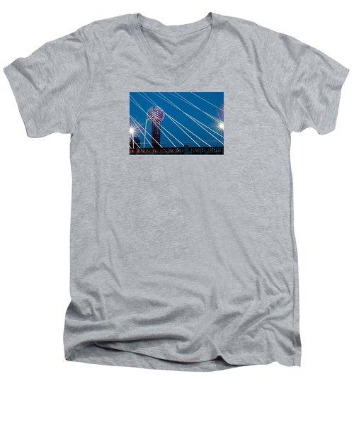 Reunion Tower Men's V-Neck T-Shirt by Darryl Dalton