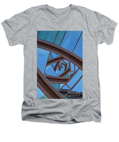 Men's V-Neck T-Shirt featuring the photograph Revolving Blues. by Clare Bambers