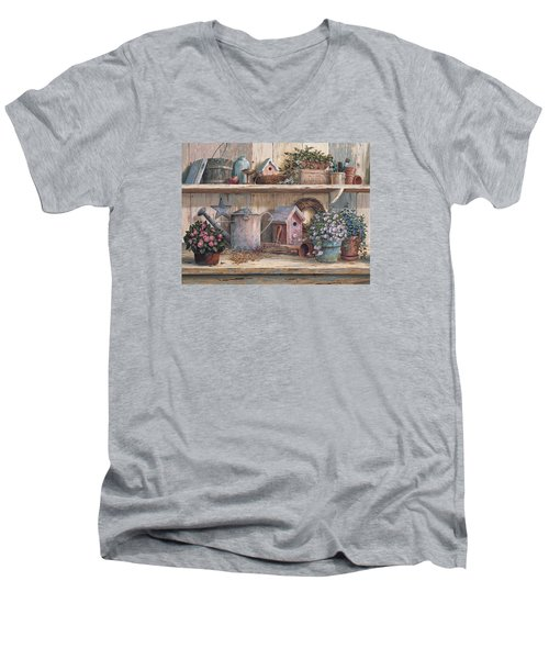 Rhapsody In Rose Men's V-Neck T-Shirt by Michael Humphries