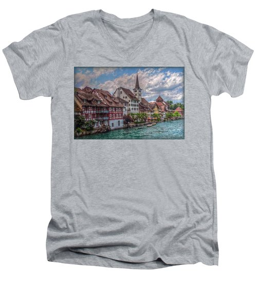 Men's V-Neck T-Shirt featuring the photograph Rhine Bank by Hanny Heim