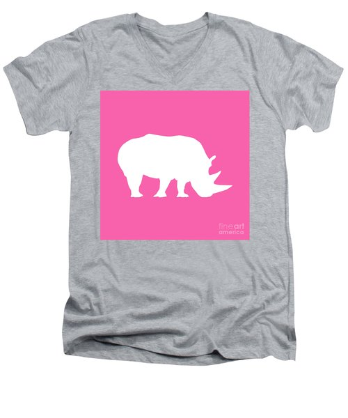Rhino In Pink And White Men's V-Neck T-Shirt