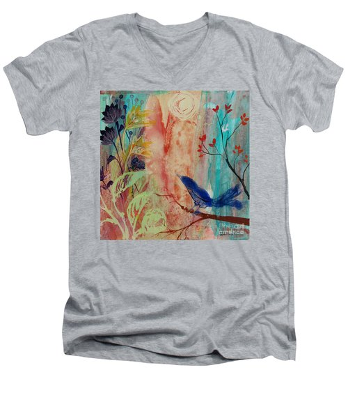 Men's V-Neck T-Shirt featuring the painting Rhythm And Blues by Robin Maria Pedrero