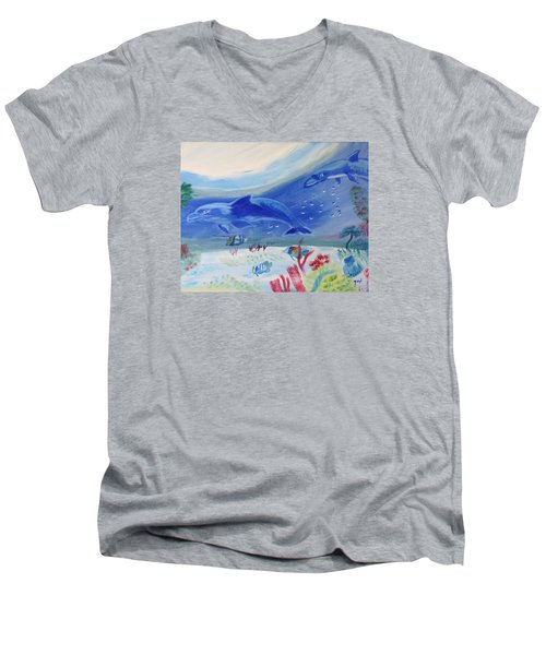 Rhythm Of The Sea Men's V-Neck T-Shirt by Meryl Goudey