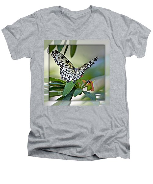 Rice Paper Butterfly 2b Men's V-Neck T-Shirt