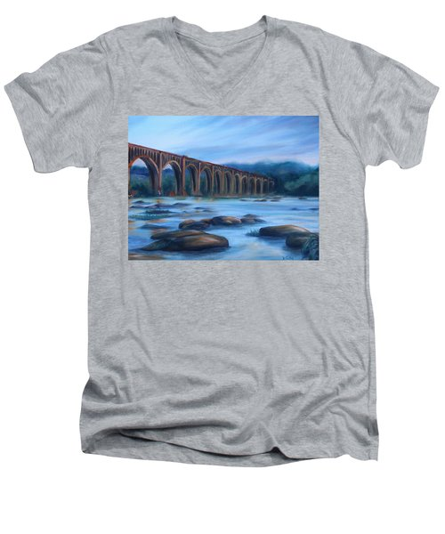 Men's V-Neck T-Shirt featuring the painting Richmond Train Trestle by Donna Tuten