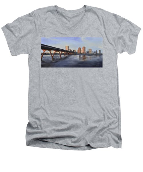 Men's V-Neck T-Shirt featuring the painting Richmond Virginia Skyline by Donna Tuten