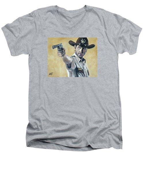 Rick Grimes Men's V-Neck T-Shirt by Tom Carlton
