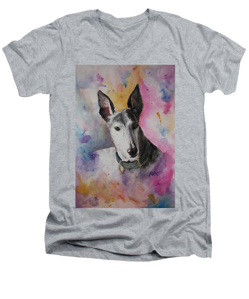 Men's V-Neck T-Shirt featuring the painting Riding The Rainbow by Rachel Hames