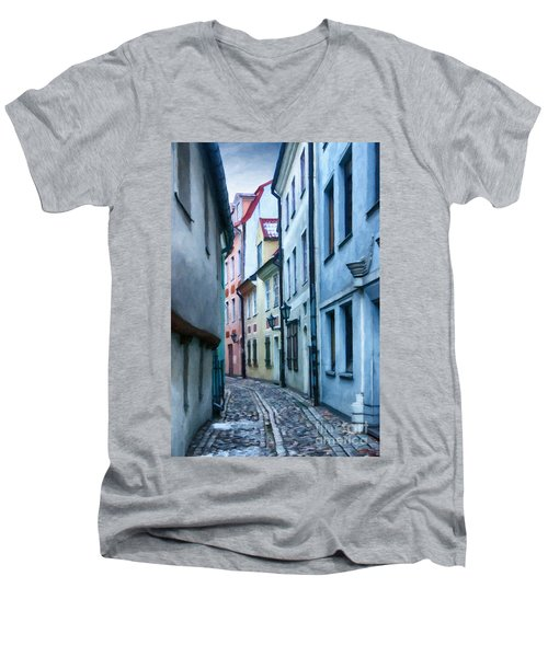 Riga Narrow Street Painting Men's V-Neck T-Shirt