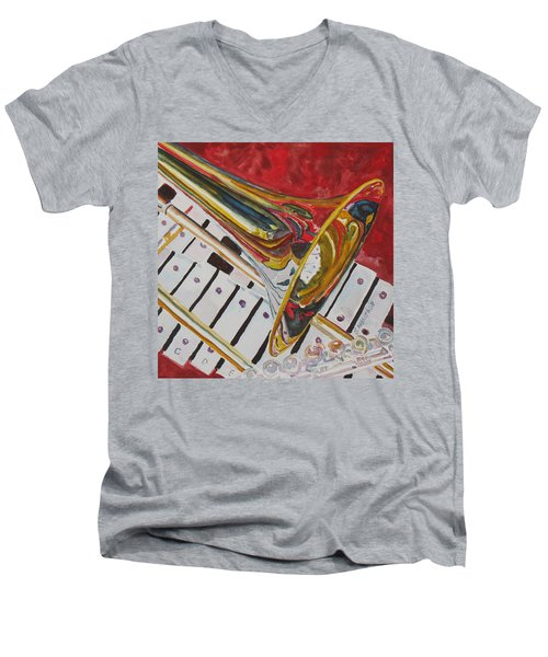 Ringing In The Brass Men's V-Neck T-Shirt by Jenny Armitage