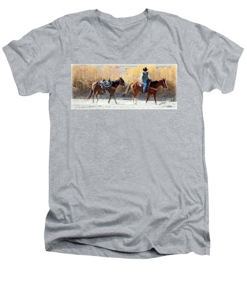 Men's V-Neck T-Shirt featuring the photograph Rio Grande Cowboy by Barbara Chichester