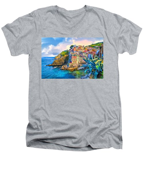 Riomaggiore Morning - Cinque Terre Men's V-Neck T-Shirt by Dominic Piperata