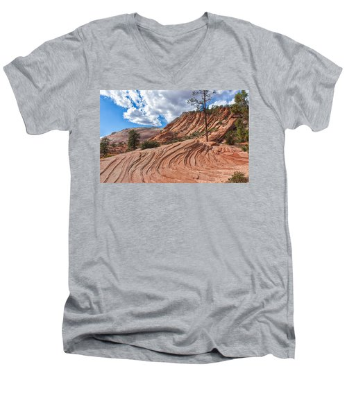 Men's V-Neck T-Shirt featuring the photograph Rippled Rock At Zion National Park by John M Bailey