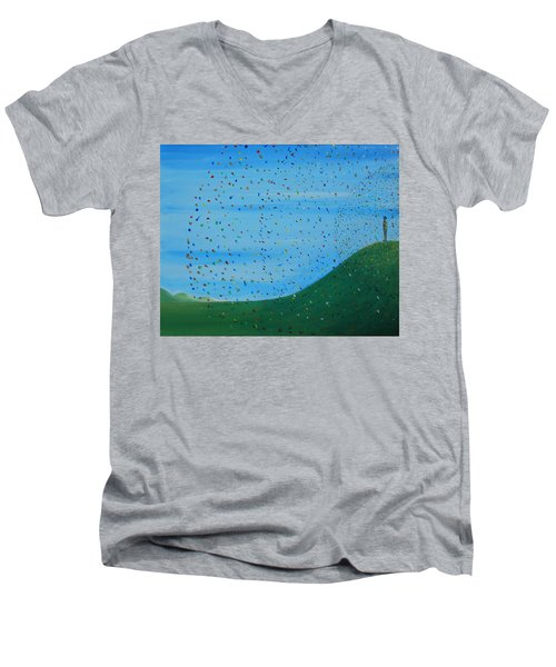 Men's V-Neck T-Shirt featuring the painting Ripples Of Life 2 by Tim Mullaney