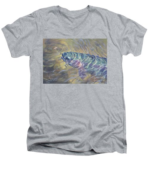 Men's V-Neck T-Shirt featuring the painting  Rainbow Rising by Rob Corsetti