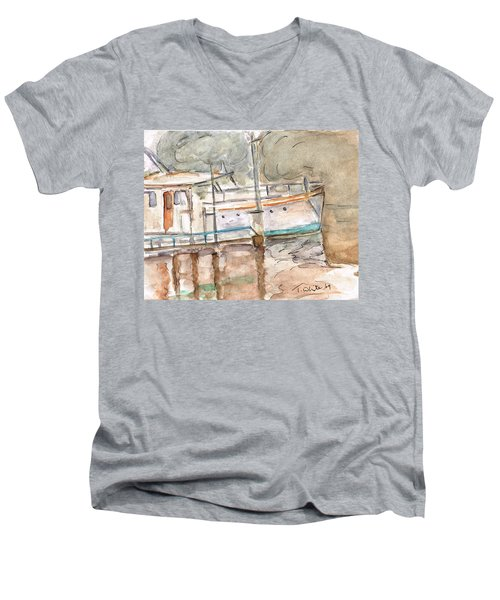 Men's V-Neck T-Shirt featuring the painting River Boat  by Teresa White