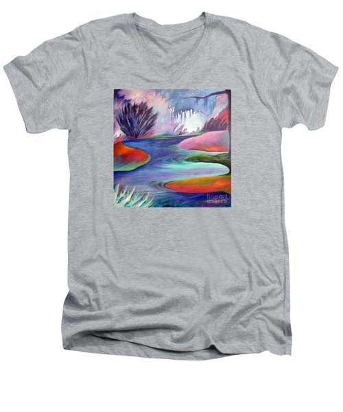Blue Bayou Men's V-Neck T-Shirt by Elizabeth Fontaine-Barr