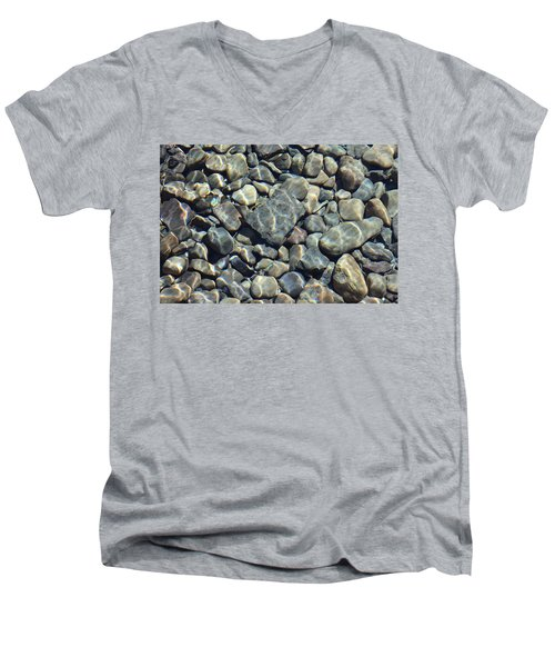 Men's V-Neck T-Shirt featuring the photograph River Rocks One by Chris Thomas