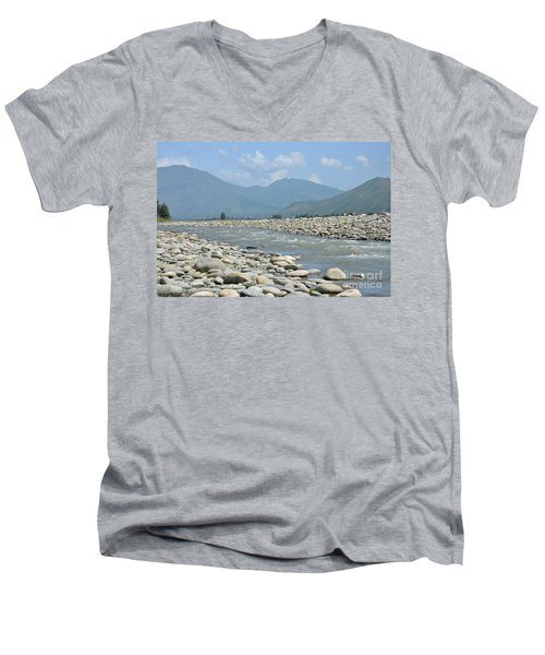Riverbank Water Rocks Mountains And A Horseman Swat Valley Pakistan Men's V-Neck T-Shirt by Imran Ahmed