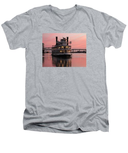 Riverboat At Sunset Men's V-Neck T-Shirt