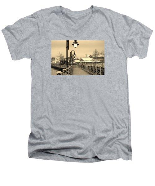 Riverfront Men's V-Neck T-Shirt by Cynthia Guinn