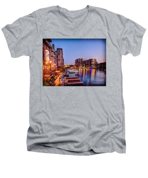 Riverwalk At Dusk Men's V-Neck T-Shirt