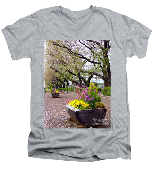 Men's V-Neck T-Shirt featuring the photograph Road Of Flowers by Andrea Anderegg