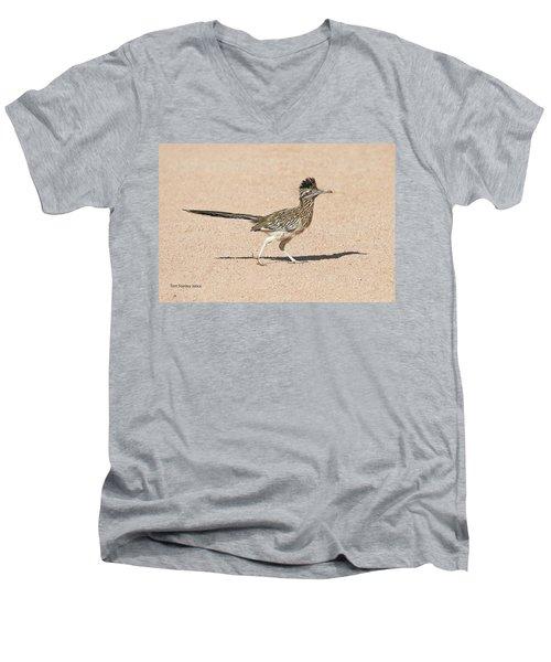 Road Runner On The Road Men's V-Neck T-Shirt by Tom Janca