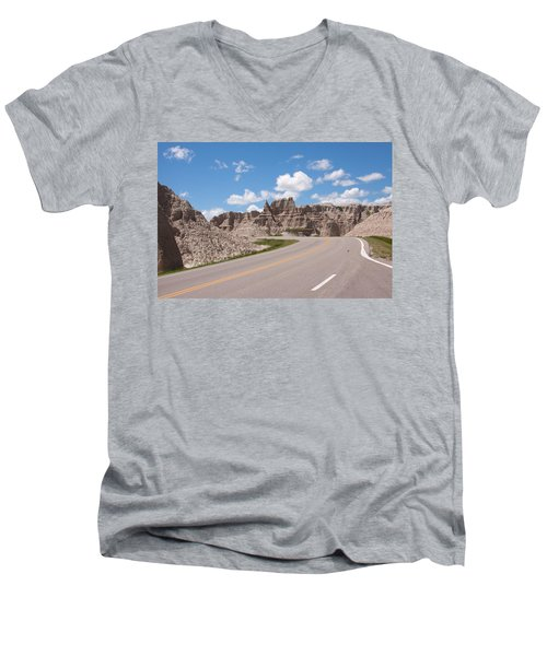 Road Through The Badlands Men's V-Neck T-Shirt