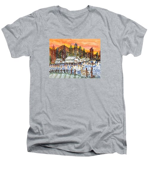 Road To The Oregon Coast Men's V-Neck T-Shirt by Connie Valasco