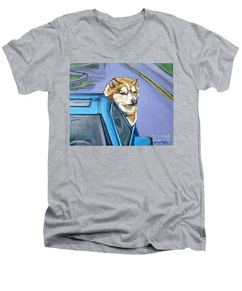 Road-trip - Dog Men's V-Neck T-Shirt