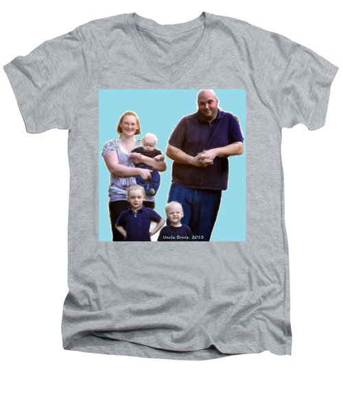 Men's V-Neck T-Shirt featuring the painting Robert Nutting Family by Bruce Nutting