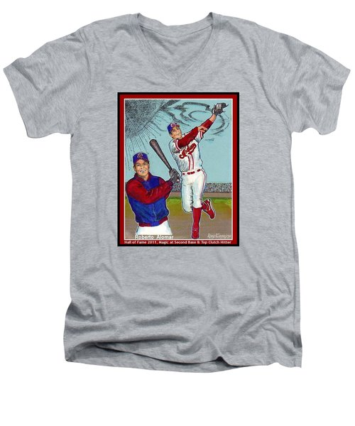 Men's V-Neck T-Shirt featuring the mixed media Roberto Alomar Hall Of Fame by Ray Tapajna