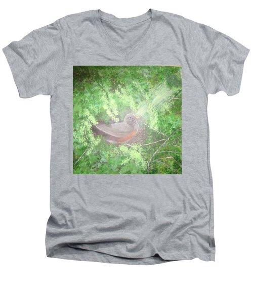 Robin On Her Nest Men's V-Neck T-Shirt