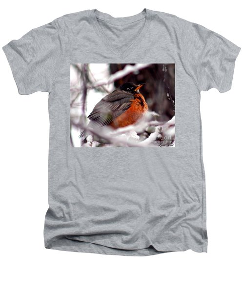 Men's V-Neck T-Shirt featuring the photograph Robins' Patience by Lesa Fine