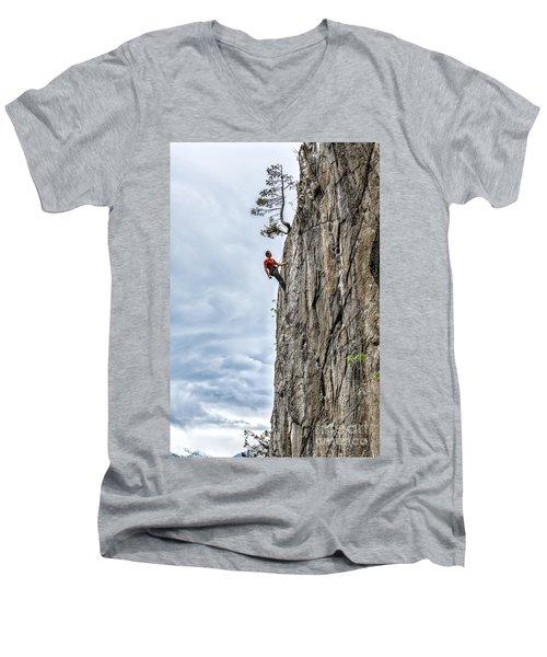 Men's V-Neck T-Shirt featuring the photograph Rock Climber by Carsten Reisinger