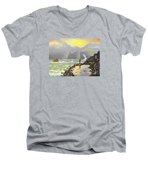 Men's V-Neck T-Shirt featuring the painting Rock Fishing At Wombarra  by Pamela  Meredith