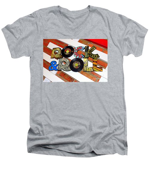 Rock N Roll Is Here To Stay Men's V-Neck T-Shirt by Kathy  White