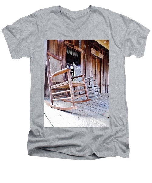 Rocking On The Front Porch Men's V-Neck T-Shirt by D Hackett