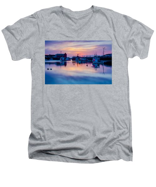Men's V-Neck T-Shirt featuring the photograph Rockport Harbor Sunrise Over Motif #1 by Jeff Folger
